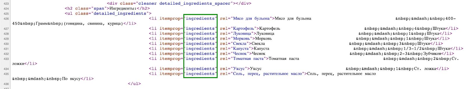 Пример микроразметки для рецептов
